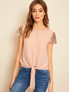 Knotted Front Sequin Sleeve Top
