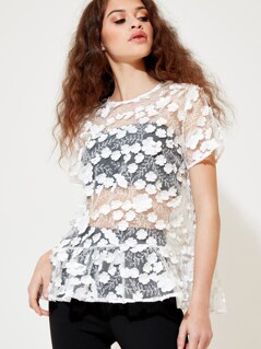 Sheer Applique Floral Peplum Top