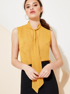Pussy Bow Sleeveless Dot Print Blouse