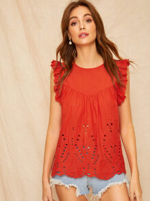 Neon Orange Ruffle Armhole Schiffy Shell Top