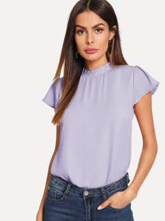 Frilled Neck Cap Sleeve Top