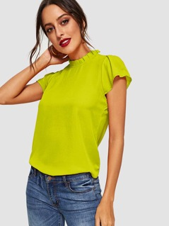 Neon Lime Frill Neck Keyhole Back Top