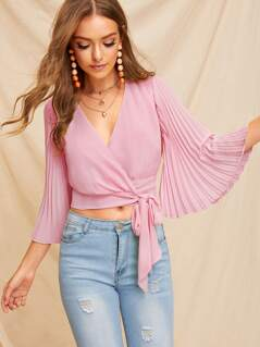 Pleated Flounce Sleeve Surplice Neck Knotted Blouse