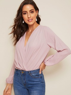 Pleated Surplice Wrap Bishop Sleeve Bodysuit
