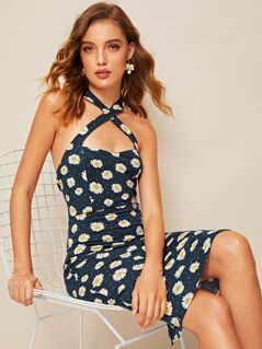 Small Daisy Crisscross Halter Split Hem Dress