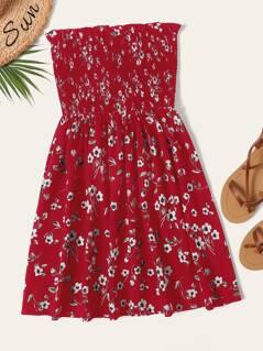 Shirred Bodice Floral Tube Dress