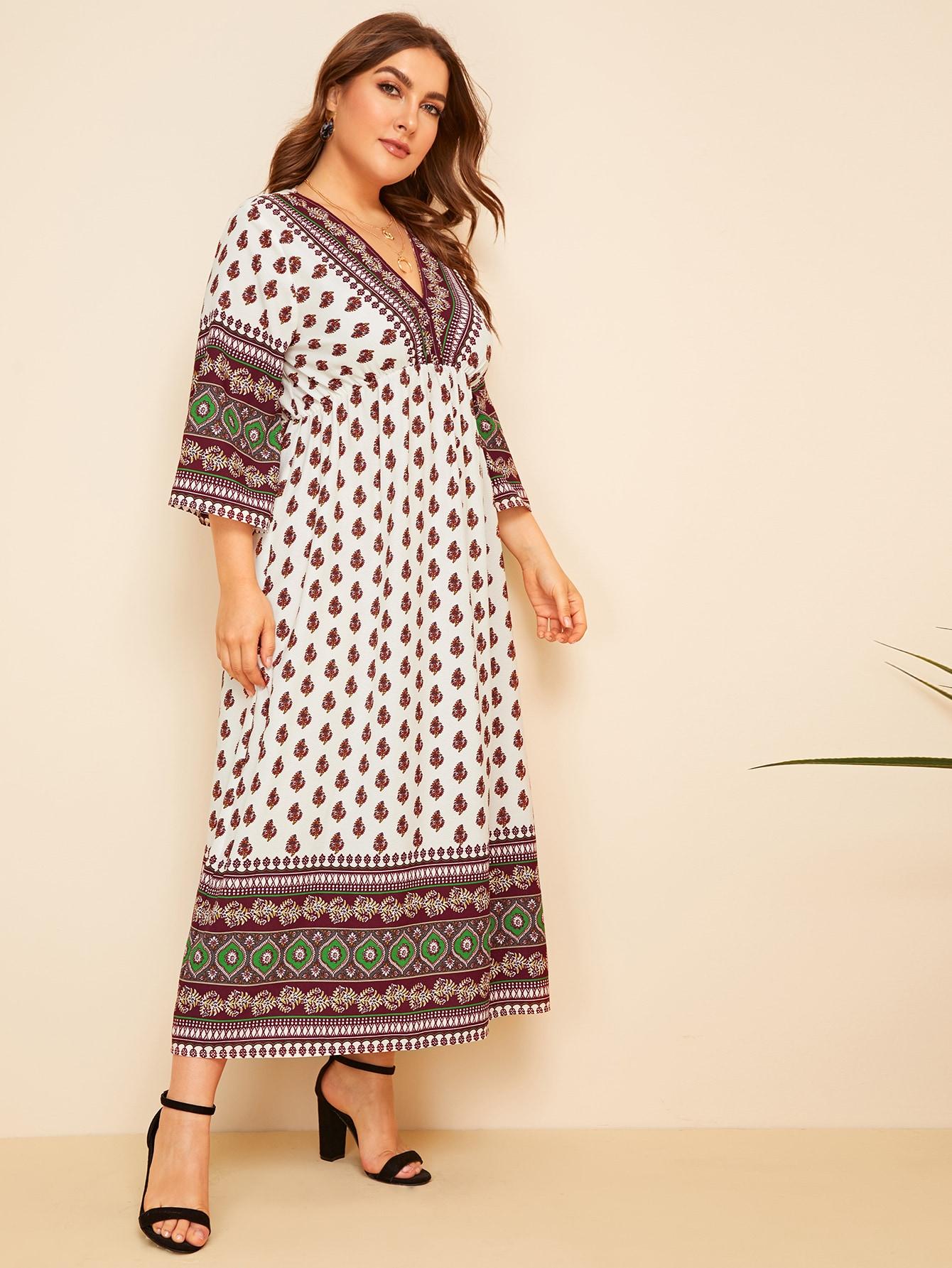 Фото - Платье размера плюс с высокой талией,модным принтом и v-образным вырезом от SheIn цвет многихцветные