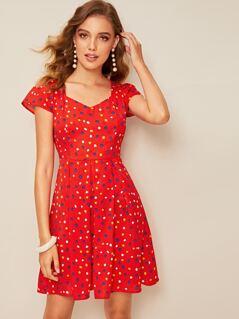 Box Pleat Detail Polka Dot Fit & Flare Dress