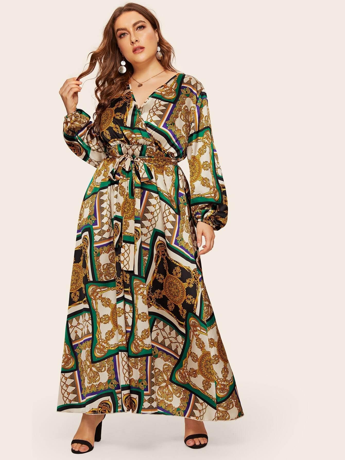 Фото - Длинное платье размера плюс с модным принтом и поясом от SheIn цвет многихцветные