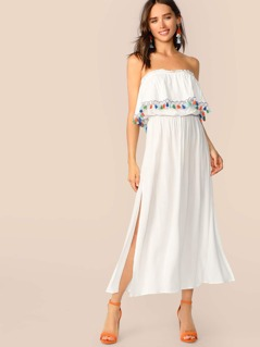 Tassel Detail Flounce Foldover Split Tube Dress