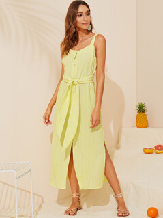 Button Front Split Hem Belted Slip Dress
