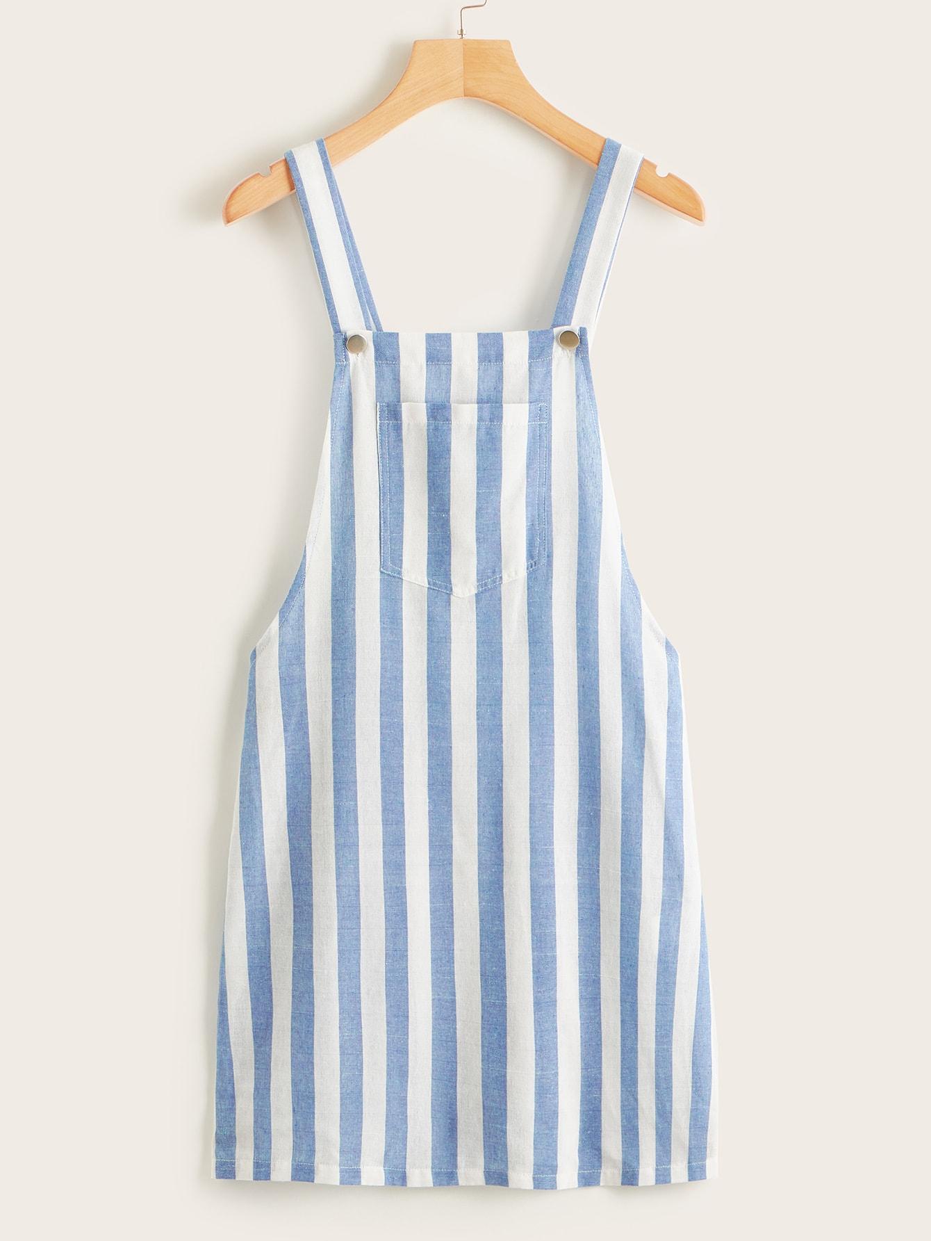 Полосатое платье-сарафан с карманом SheIn