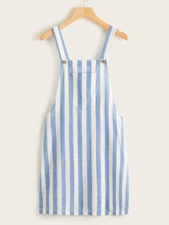 Pocket Patched Striped Pinafore Dress