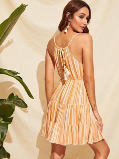 Plunge Neck Tassel Tie Back Striped Tiered Dress