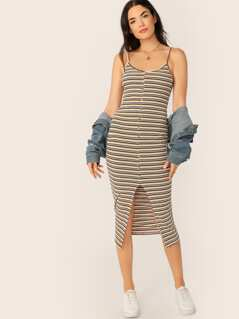 Button & Split Front Rib-knit Striped Cami Dress