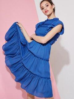 Ruffle and Shirred Detail Midi Dress