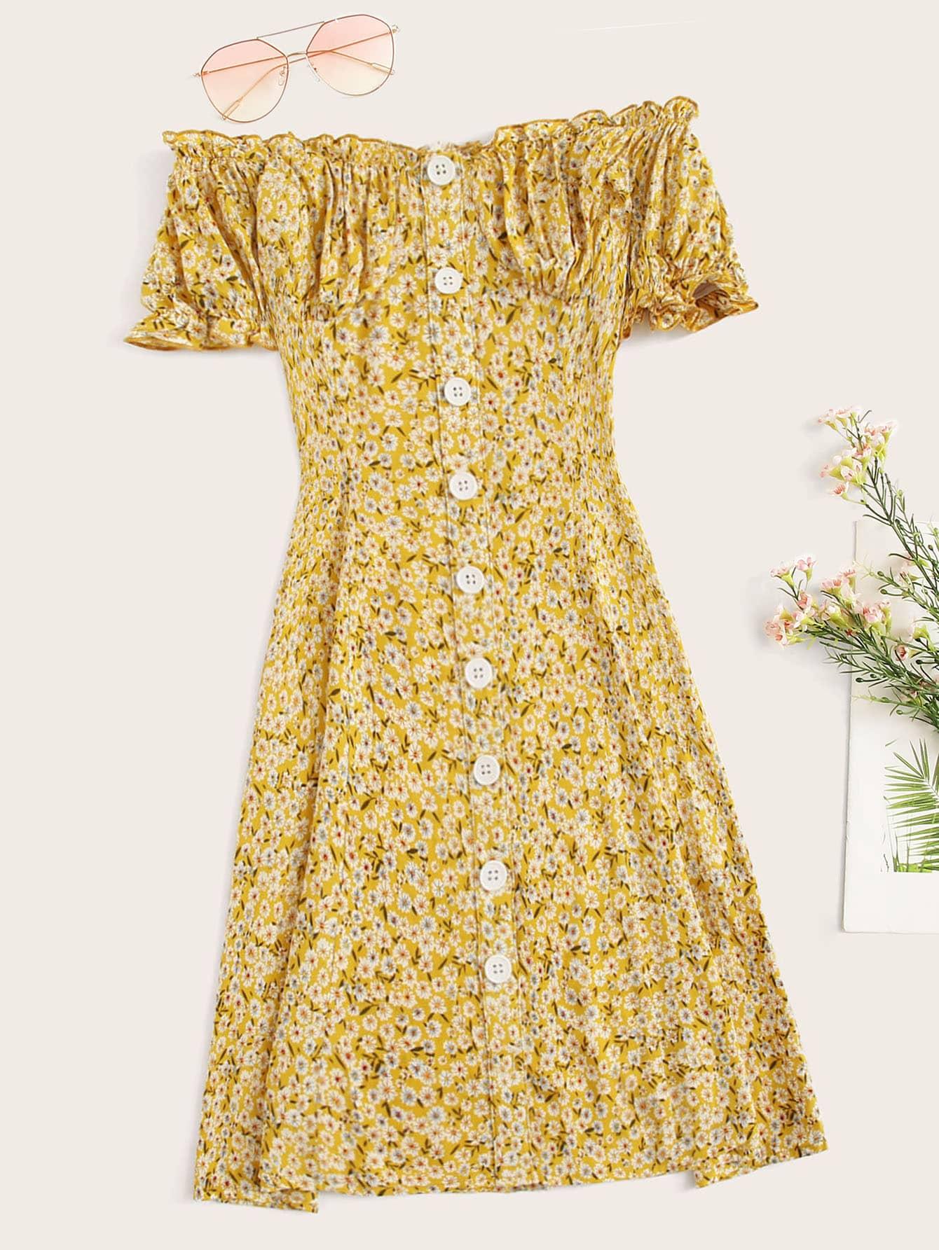 Платье размера плюс с пуговицами и открытым плечом