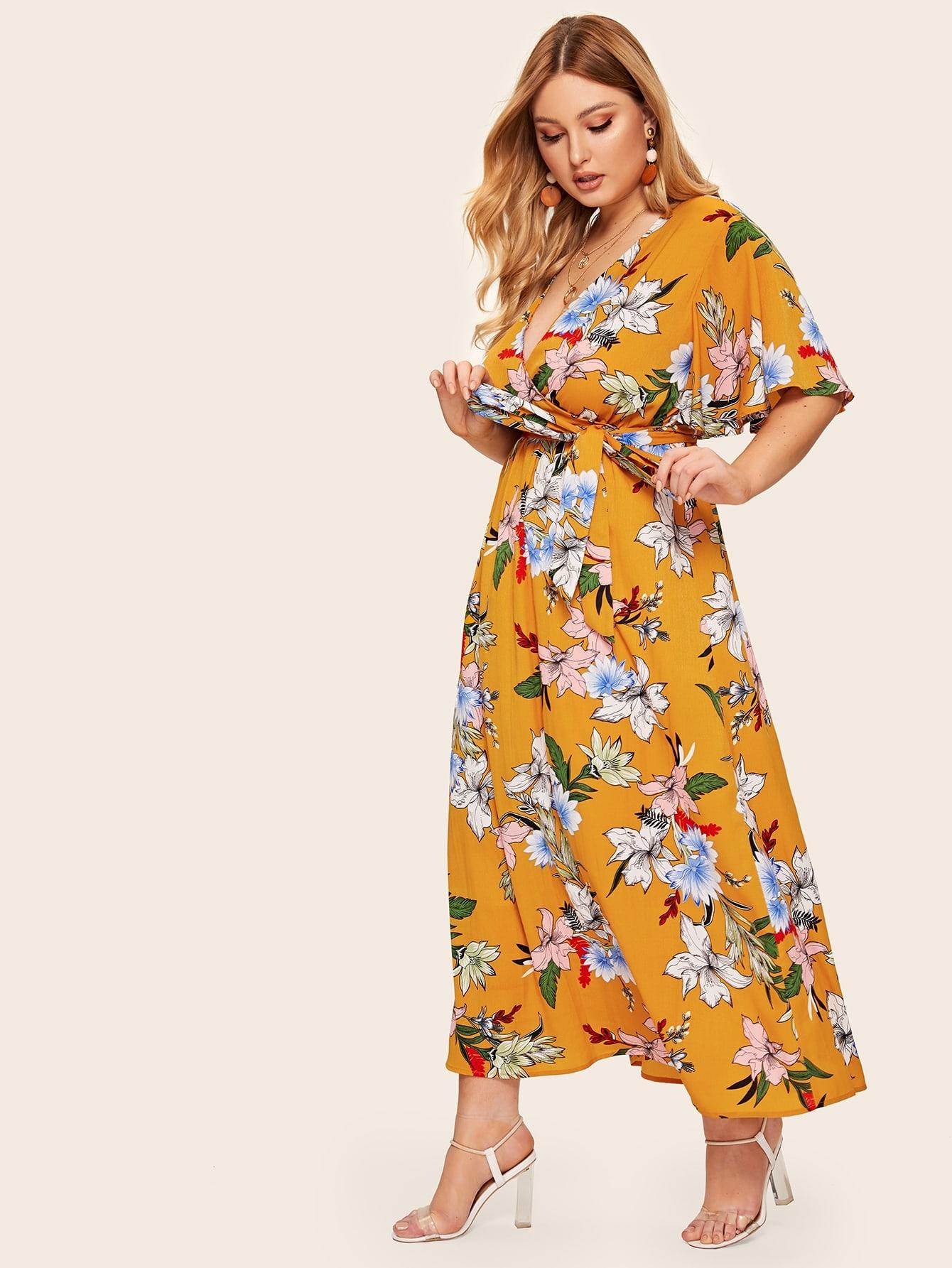 Фото - Длинное платье размера плюс с цветочным принтом и поясом от SheIn цвет жёлтые