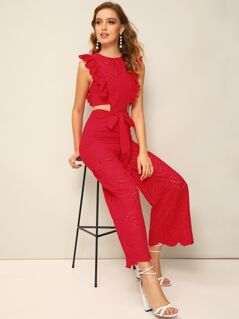 Ruffle Trim Cutout Waist Eyelet Embroidered Palazzo Jumpsuit
