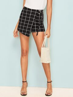 D-ring Belted Grid Wrap Shorts