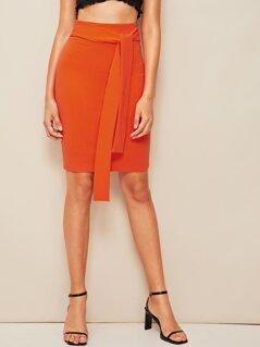 Neon Orange Tie Waist Pencil Skirt