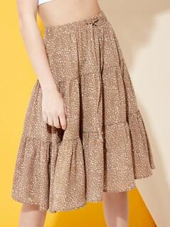 Polka Dot Tiered Midi Skirt