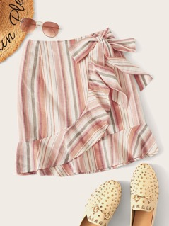 Ruffle Trim Knotted Wrap Striped Skirt