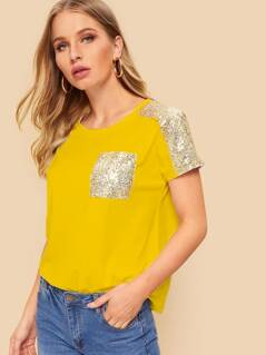 Sequin Shoulder & Pocket T-shirt
