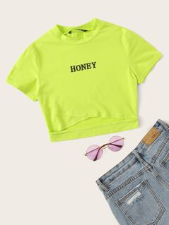 Neon Lime Cross Wrap Letter Crop Tee