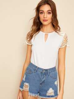 Cutout Front Guipure Lace Shoulder Top