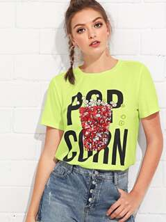 Sequin Popcorn Patched Neon Lime Tee