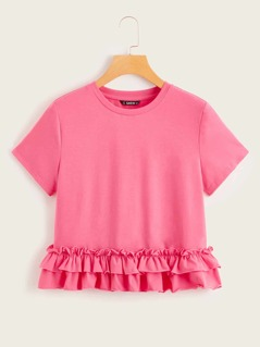 Neon Pink Layered Ruffle Hem Top
