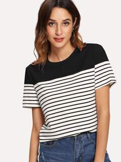 Solid Yoke Striped T-shirt