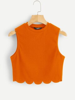 Neon Orange Scallop Edge Rib-knit Tank Top