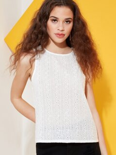 Broderie Anglaise Lace Tank Top