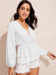 Plunging Neck Lantern Sleeve Double Layer Wrap Top