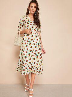 Strawberry And Floral Print Surplice Flippy Hem Dress