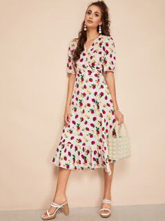 Strawberry And Floral Print Surplice Flippy Hem Dress