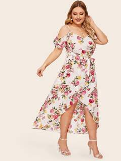 Plus Floral Print Cold Shoulder Wrap Belted Dress