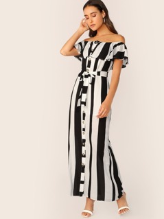Bardot Button Front Waist Tie Stripe Maxi Dress