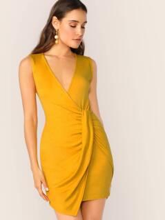 V-Neck Twist Wrap Detail Sleeveless Mini Dress