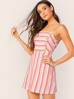 Button Front Sleeveless Linen Stripe Mini Dress