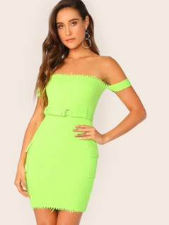 Belted Bardot Style Raw Edge Bodycon Mini Dress