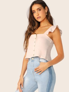 Button Detail Ruffle Sleeve Jersey Knit Crop Top