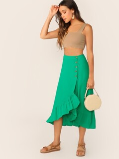High Waisted Ruffle Hem Midi Wrap Skirt