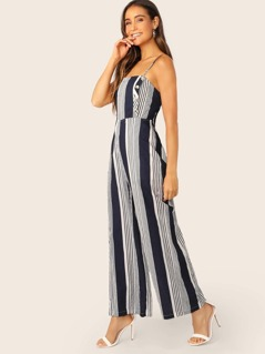 Sleeveless Button Front Wide Leg Stripe Jumpsuit