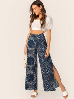 High Waisted Bandana Print Split Wide Leg Pants