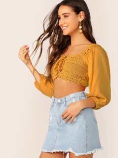 Crochet Knit Lace Front Puff Sleeve Crop Blouse