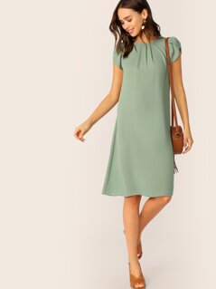 Petal Sleeve Pleated Front Dress