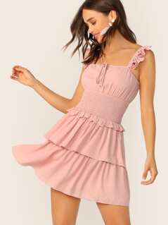 Tie Neck Shirred Waist Layered Hem Dress